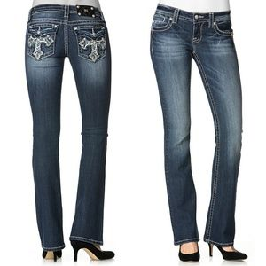 New! MISS ME Cross Pocket Boot Cut Jeans Blue NWT